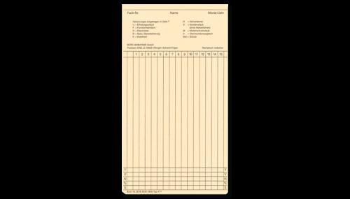 Stempelkarte für Stempeluhren K 71